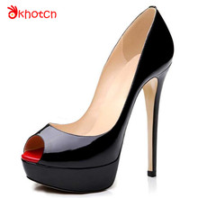 Okhotcn Women's Shoes Platform Thin High Heels Women Pumps Black Red Peep Toe Thick Bottom Sole Zapatos Mujer Free Shipping(China)