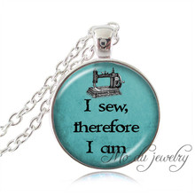 Sewing Machine Necklace for Women Silver Chain Sewing Jewlry Seamstress Sewing Pendant Glass Dome Necklace I Sew Therefore I Am