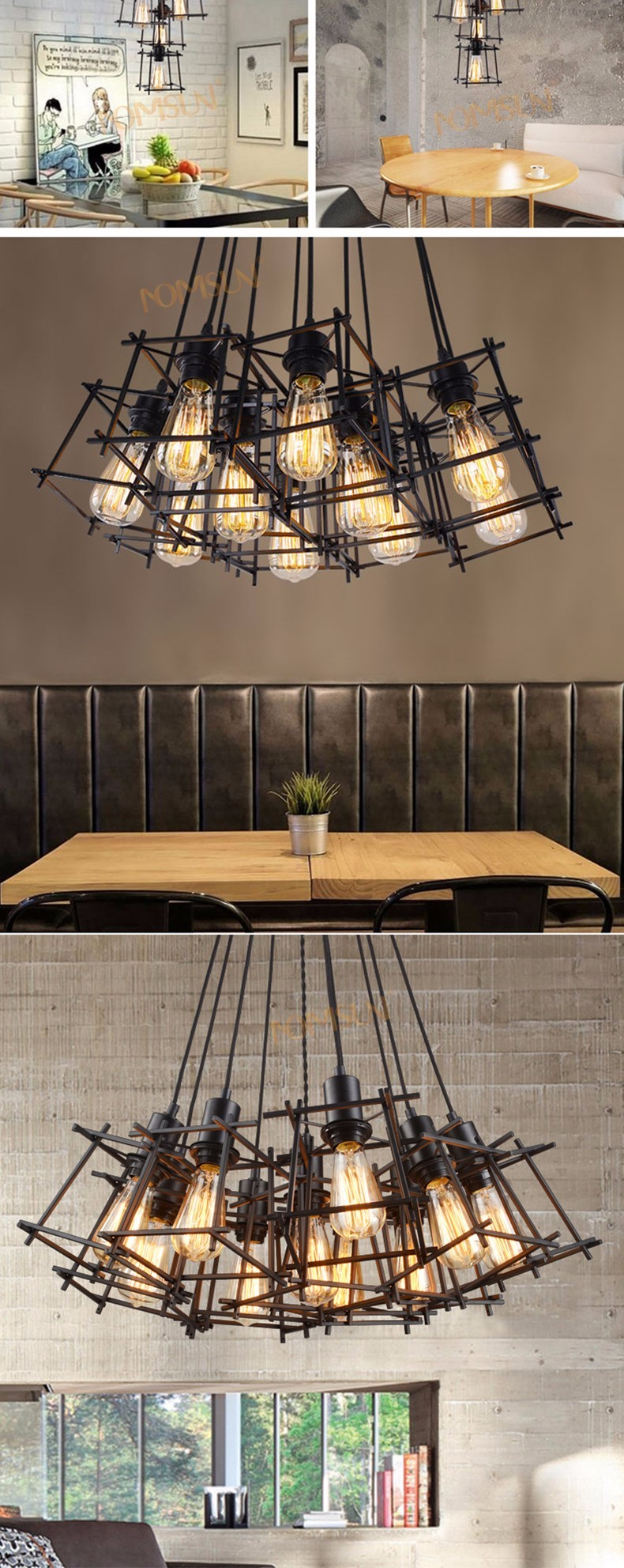 American Loft Vintage pendant light Personality Wrought Iron lights Edison nordic lamp industrial cage lamp lighting fixtures 9