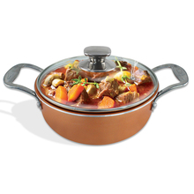Saucepot with glass lid Copper Cookware & Induction bottom&ceramic coating&Tempered glass lid with steam vent(China)