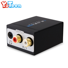 TV SPDIF/Coaxial to RCA L/R Headphone Analog Audio Converter Out Coax RCA Toslink Audio Sound SPDIF Adapter + Optical Fiber Line