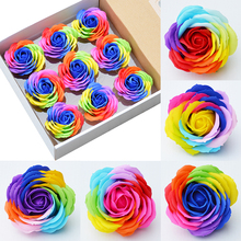 9pcs big colorful soap rose flower heads roses Wedding decoration Valentines Day gift soap flower heads decorative flowers