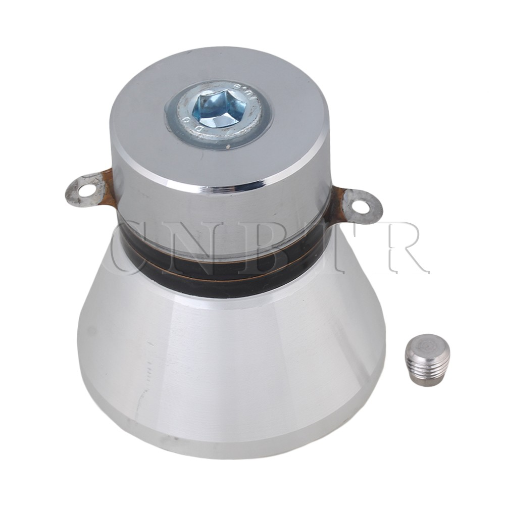 CNBTR Aluminum Alloy 100W 28KHz Ultrasonic Piezoelectric Transducer Cleaner Silvery<br>