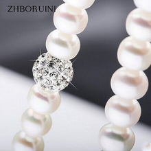 ZHBORUINI 2017 Pearl Necklace 925 Sterling Silver Jewelry For Women 8-9mm Crystal Ball Natural Freshwater Pearls Pearl Jewelry(China)