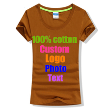 Solid Cotton Summer Women Slim T-shirts Custom Logo Photo Printed Text Female Lady Company Team Best Friends Sister Top T shirt(China)