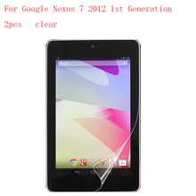 Transparent Tablet LCD film Screen Protector for Google Nexus 7 2012 1st Generation  9H Anti-scratch 2pcs in 1 package
