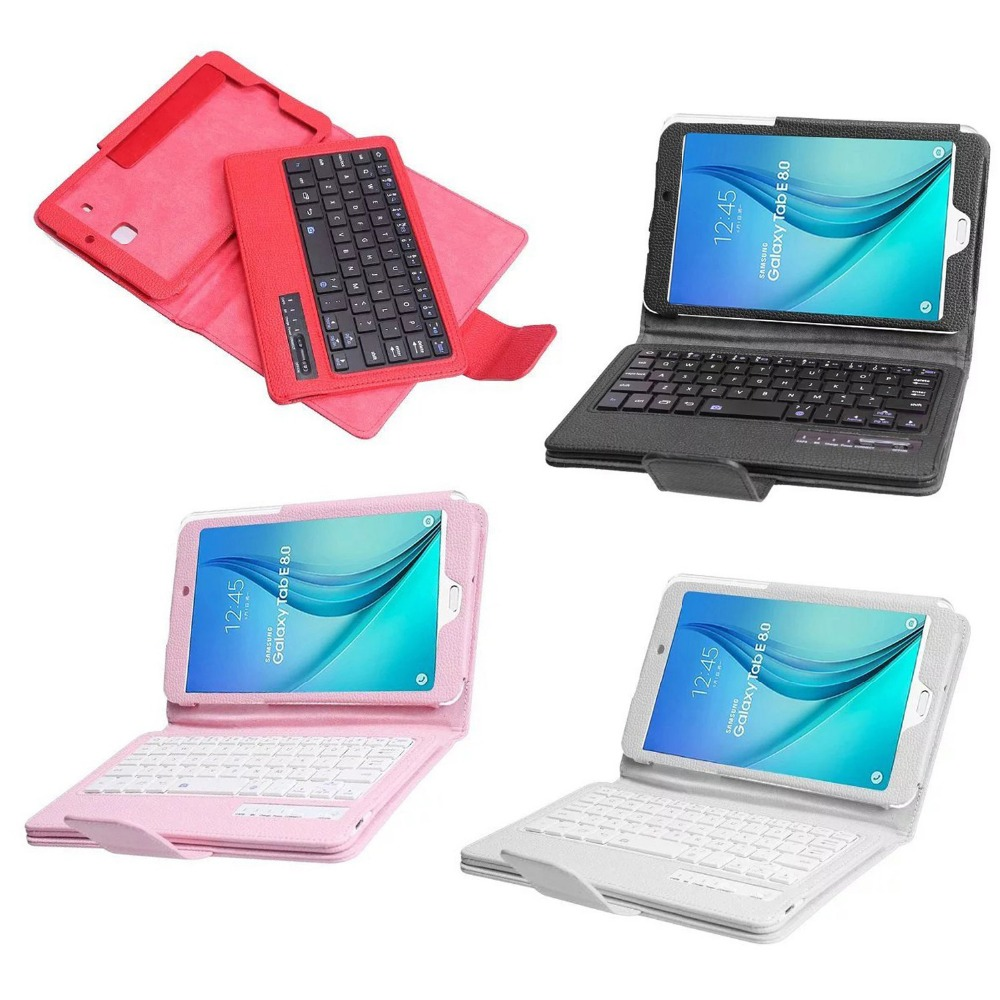 For Samsung Galaxy Tab E 8.0 T377 T375 T377V SM-T377 Tablet PU Leather Case Stand Cover + Detachable Wireless Bluetooth Keyboard<br>