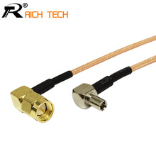 "RF SMA Switch TS9 Pigtail Cable SMA Male Right Angle Connector Switch TS9 Male Right Angle Connector RG316 Cable 15cm 6""(China)"