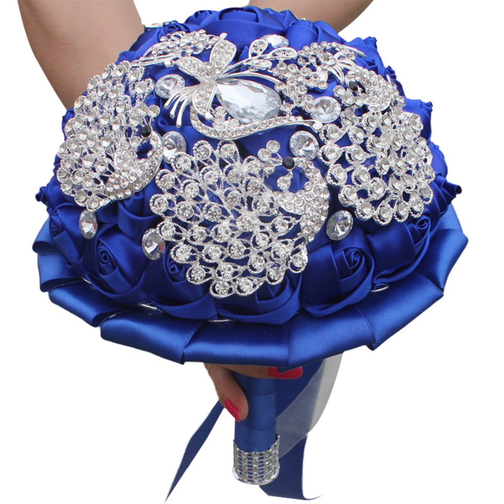 AYiCuthia Gorgeous Crystal Wedding Bouquet Ivory Rose Bridesmaid Flowers Artificial Sapphire Pearl Bridal Bouquets S105