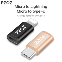 PZOZ Micro USB Adapter to Lightning adapter type c otg charging Data for iPhone X 8 7 6 iPad5 Charger Cable type-c usb c adapter(China)