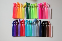 100 Pcs/lot Wholesale Candy Color Ponytail Holders twist Ribbon Elastic Bands/ Hair Ties Hair Accessories mix colors