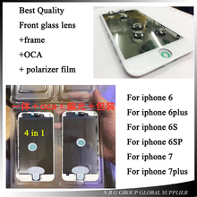 2pcs/lot Best Quality For iphone 7 7p Cold Press 4 in 1 Front Screen Glass Lens with frame Polarizer OCA for iphone 6 6p 6s 6sp