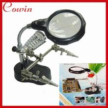 Free shipping Helping Hand Clip clamp Magnifying Soldering IRON jewelry STAND Lens LED glass Magnifier Vise Clip Tool(China)