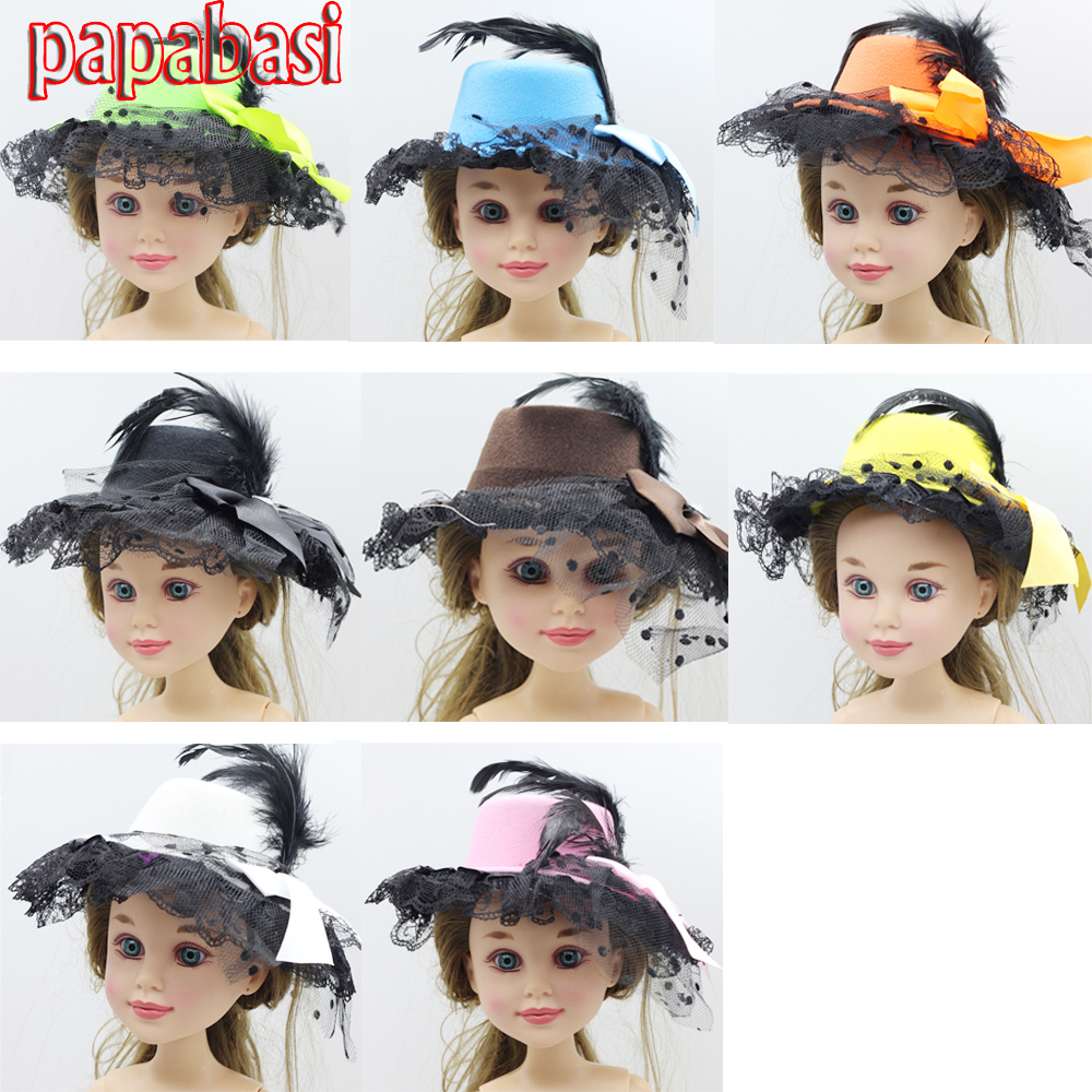 Papabasi Fashion Feather Lace Hairwear hat fit 43cm dolls toy cap(China (Mainland))