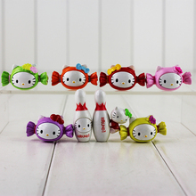 8pcs/lot 4cm Japanese Hello Kitty Figure Toy Candy Sugar Sweets Bowling Shape Kitty Mini Model Doll for Kids