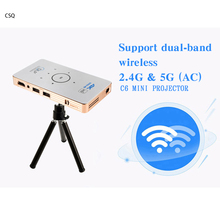 CSQ C6 DLP projector Android 5.1 quad core TV Box dual band 5Ghz HD Bluetooth HDMI portable Media player with 5000mAh battery