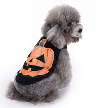 Pet Puppy Small Dogs Apparel 2017 Pet Dog Clothes Halloween Festivals Pumpkin Cotton Black Vest T-shirt Clothes#25(China)