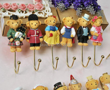 Free Shipping Set of 14pcs Resin Cute Bear Clothes Hook Hat Bag Towel Hanger Wall Door Mount Hooks