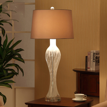 Modern Simple Fabric Bedroom Table Lamp European Style Glass Living Room Table Lamp W38cm H95.2cm lamparas de mesa