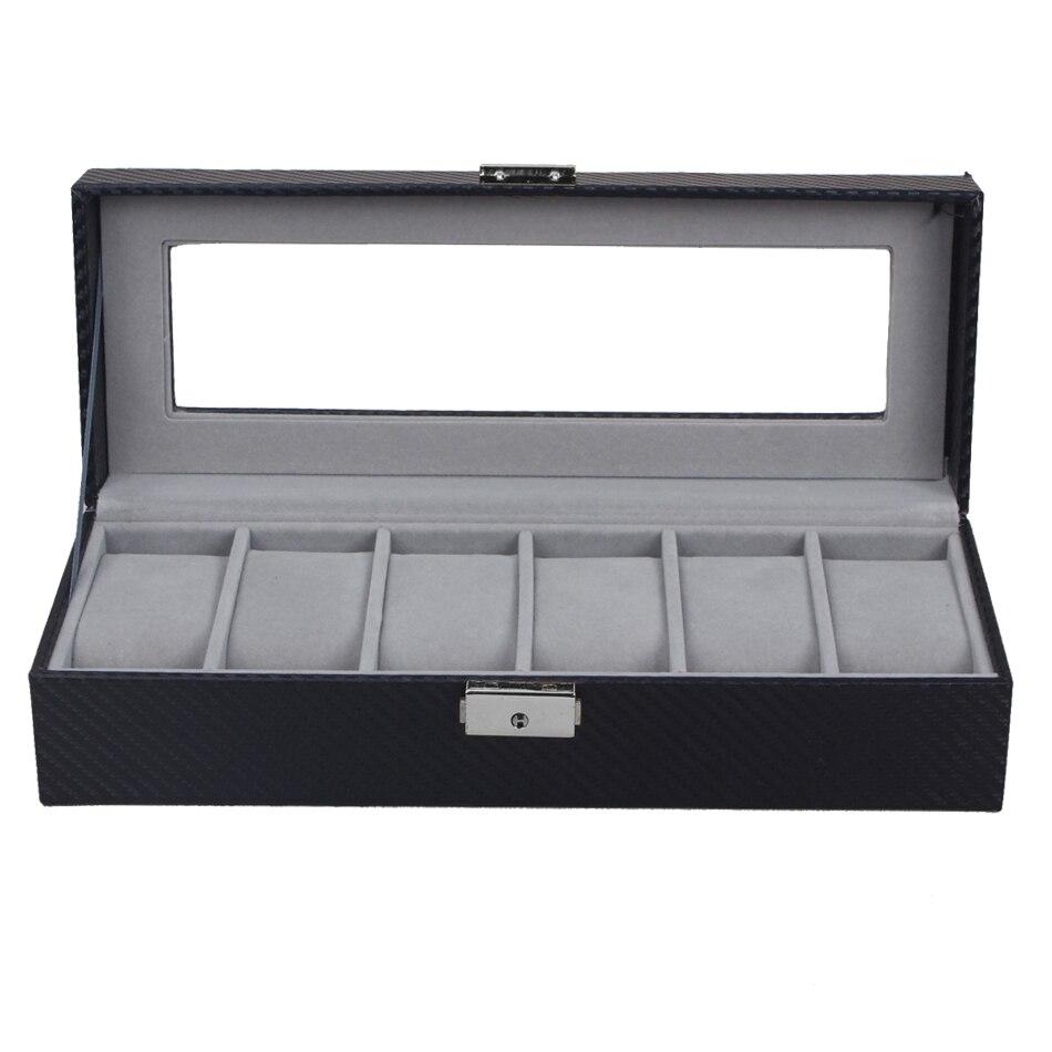 ZLIMSN 6 Grids Watch Display Box Black Carbon fibre Luxus Watchbox Transparent Watch Storage Box Lock Case Holder Caixa Relogio<br>