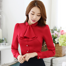 Scarf Collar Casual Women Blouse Female Elegant Pink Slim Fit Shirt Ladies Tops Office Lady OL New Style Fashion Autumn wear(China)