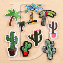 1 PCS Plant Cactus parches Embroidered Iron on Patches for Clothing DIY Stripes Clothes Coconut trees Stickers Custom Badges @TT
