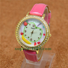 Korean watch mini world Apple banana fruit table polymer clay watch cartoon lady children hours mini watches