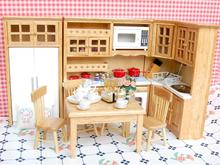 1/12 Dollhouse Miniature Wooden Furniture 5pcs Table Chair 40pcs Porcelain Tea Coffee Set Dolls Dining/Living Rooms Items Decor(China)