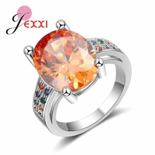 JEXXI Luxury Wedding Anniversary Engagement Ring 925 Sterling Silver Princess Cut CZ Cubic Zircon Bridal Women Lady Jewelry