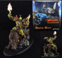 "WOW World of Orc Warrior Wolf Rider Riding Wolf 10"" Statue Figure NIB"