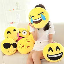 Hot sale Styles Soft Emoji Smiley Emoticon Round Cushion Pillow Sofa Stuffed Plush Toy Doll Christmas whatsapp emoji Cushion