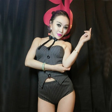 New Female Jazz DJ Dance Costumes Black Sexy Fashion Slim Festival Costumes Female DS DJ Dance Costumes Hip-hop Dance Wear(China)