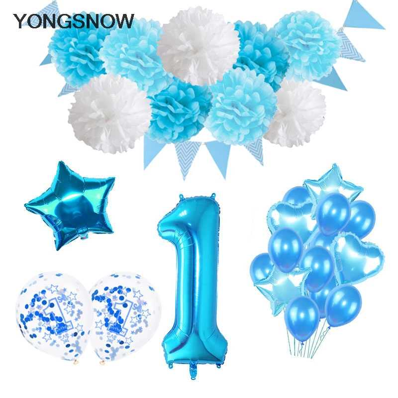 Blue Foil Balloons Happy Birthday Banners Baby Shower 1 Year