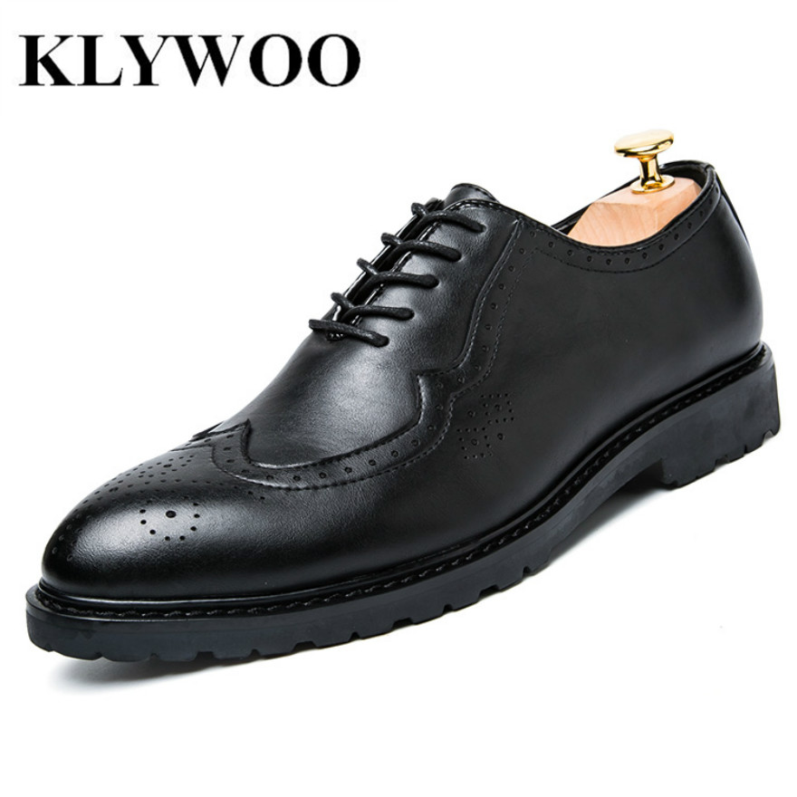 KLYWOO Fashion Mens Oxfords Black Leather Formal Shoe For Men Dress Shoes Round Toe Vintage Men Flats Tenis Casual Zapatos<br>
