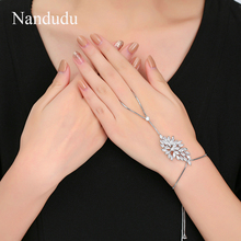 Nandudu New Fashionable Palm Bracelet Bangle Connected Finger Ring Palm Bangle with AAA Zircon Handlets Jewelry Gift R1956(China)