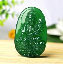 Natural authentic chalcedony pendant pendant ice through the agate chalcedony men and women Lucky Buddha jade pendant(China)