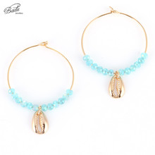 Badu Crystal Beads Hoop Earring Big Round 18 Gold Shell Pendant Women Fashion Earrings Bohemian Jewelry Fashion
