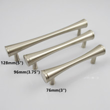 "96mm 128mm modern simple stainless handles  3"" stain silver kitchen cabinet drawer pull knob brushed nickel dresser door handle"