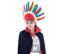2016 New Hot Halloween Carnival Day Colorful Feather Headband Indian Style Headwear Villus Chiefs Cap Halloween Party Headdress
