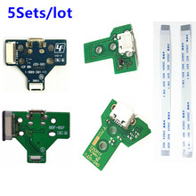 5 Sets Charging Socket Port Circuit Board JDS 001 011 030 040 12 14 pin Power Flex Ribbon Cable For Playstation 4 PS4 Controller
