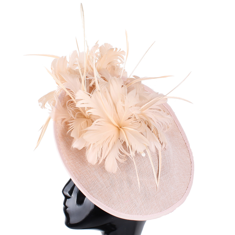 Imitation sinamay big derby hat chapeau women fashion new fascinators headbands bridal married feathers headpiece occasion race