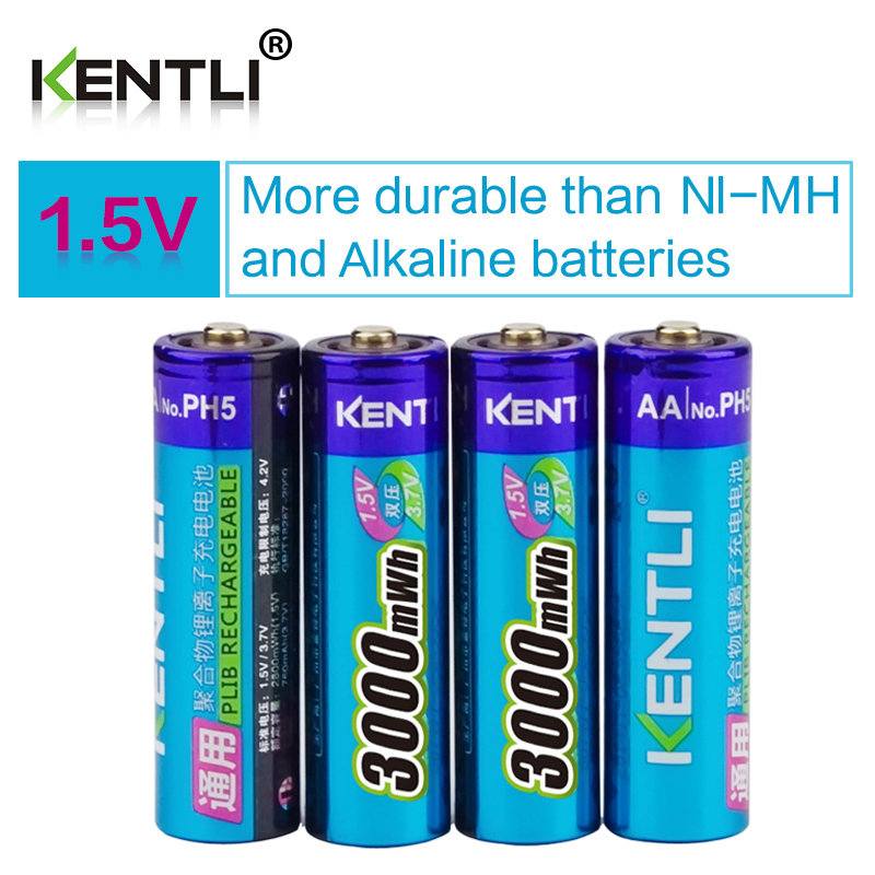 KENTLI 4pcs/lot Stable voltage 3000mWh aa batteries 1.5V rechargeable battery polymer lithium li-ion battery for camera ect(China)