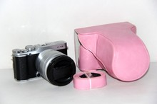 Factory Free shipping Leather Camera case bag + Strap for Fujifilm Fuji X-M1 X-A1 XM1 XA1 XA2 X-A2 Pink(China)