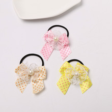 2017 Boutique Grosgrain Ribbon Girl Bow Elastic Hair Tie Rope Hair Band Bows Lace pearl Hair Accessories(China)
