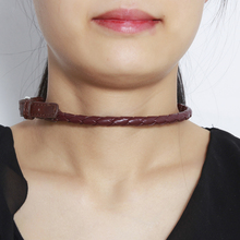 W-AOE Fashion Jewelry Vintage PU Leather Choker Necklace For Women Girl Belt Buckle Collar Neck Necklaces Best Gift