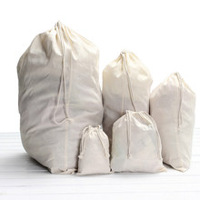 Drawstring Storage Cotton Linen Bag Small Beam Rope Pouches Home Decor Handbags Large Capacity Handmade Gift Bag