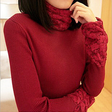 BEST SELL Autumn Winter Sweater for Women Turtleneck Lace Long Sleeve Knitted Slim Crochet Pullovers Tricotado Jumper 8982
