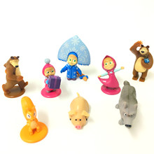 8pcs Masha And Bear action Figures toys Baby Children Best Animals Gift Russia Unique Gifts Random