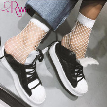 2017 Autumn Fishnet socks Punk Mesh Socks Solid Black Breathable Female Sexy Nets Sock Girls High Heels Sox Woman Socks Fashion(China)