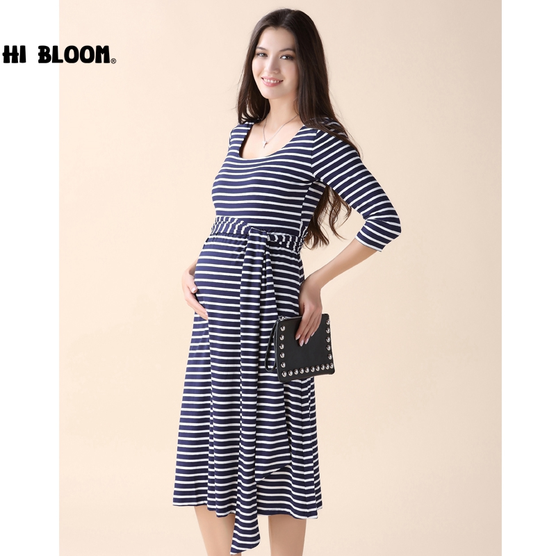 HI BLOOM Pregnant Women Party Sashes Dress Elegant Office Lady Vestidos Maternity Clothes Plus Size Maternity Dress<br>